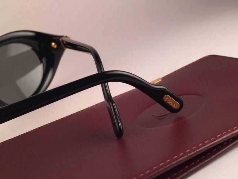 Cartier Frisson Black Medium Sunglasses 18k Gold France 1991 8