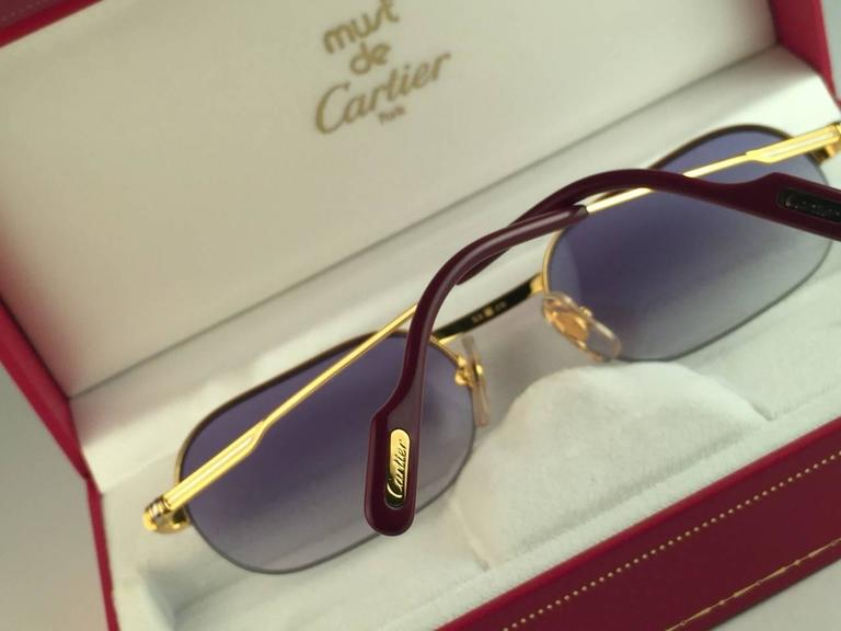 New Cartier Ascot Vendome Gold 53mm Half Frame Sunglasses Elton John France 9