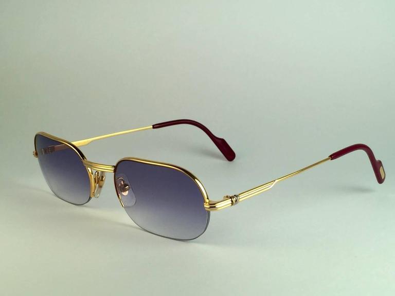 New Cartier Ascot Vendome Gold 53mm Half Frame Sunglasses Elton John France 5