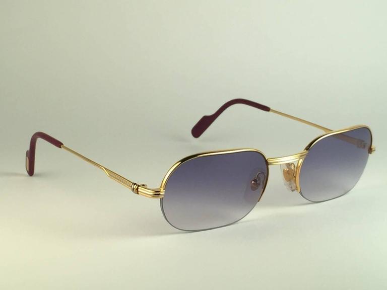 New Cartier Ascot Vendome Gold 53mm Half Frame Sunglasses Elton John France 6