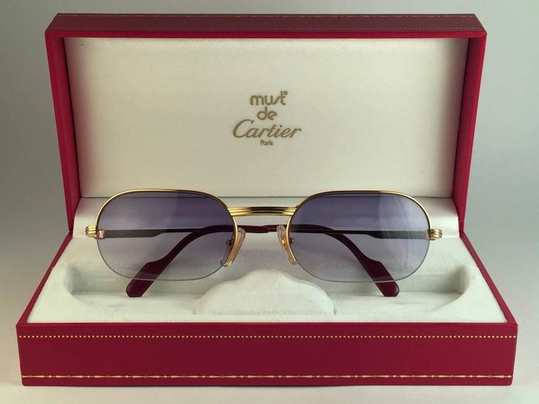 New Cartier Ascot Vendome Gold 53mm Half Frame Sunglasses Elton John France 2