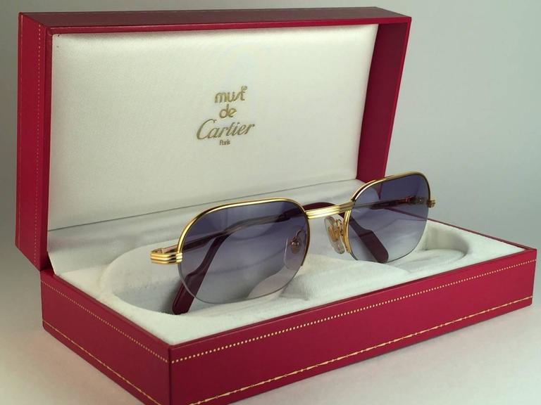 New Cartier Ascot Vendome Gold 53mm Half Frame Sunglasses Elton John France 3