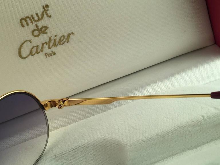 New Cartier Ascot Vendome Gold 53mm Half Frame Sunglasses Elton John France 8