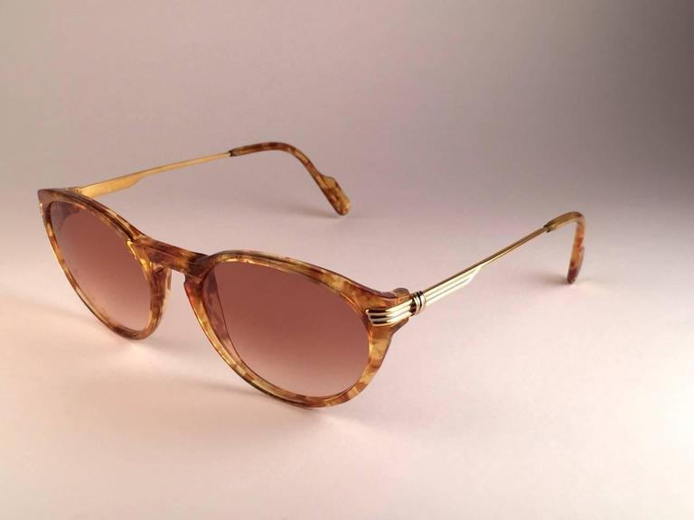 Women's or Men's  Cartier Aurore Jaspe Gold Sunglasses Brown France 18k Gold 1991 For Sale