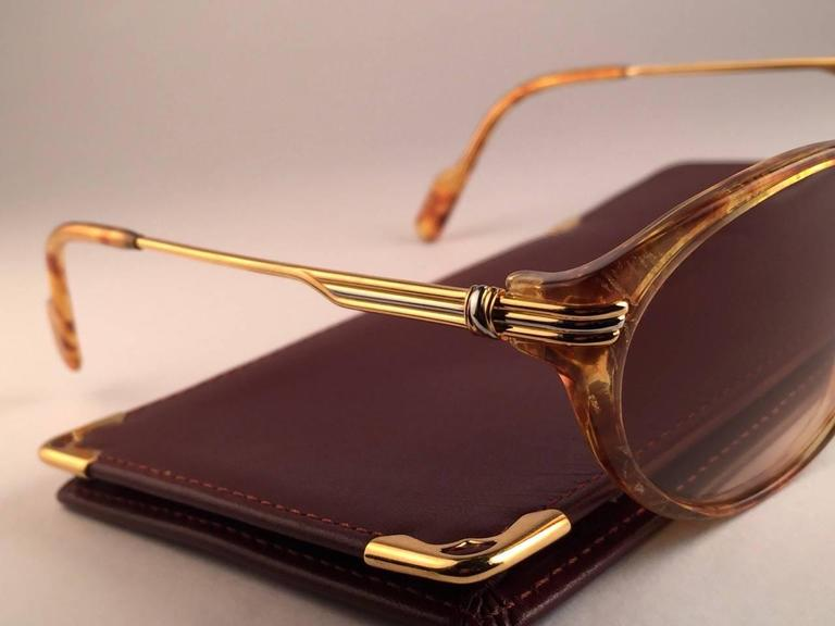 Cartier Aurore Jaspe Gold Sunglasses Brown France 18k Gold 1991 For Sale 2