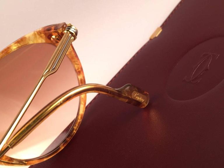 Cartier Aurore Jaspe Gold Sunglasses Brown France 18k Gold 1991 For Sale 3
