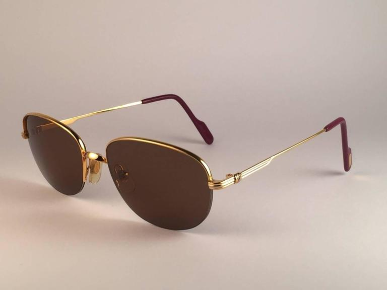 Cartier Montaigne Half Frame 53mm Sunglasses 18k Gold Sunglasses France In New never worn Condition For Sale In Amsterdam, NL