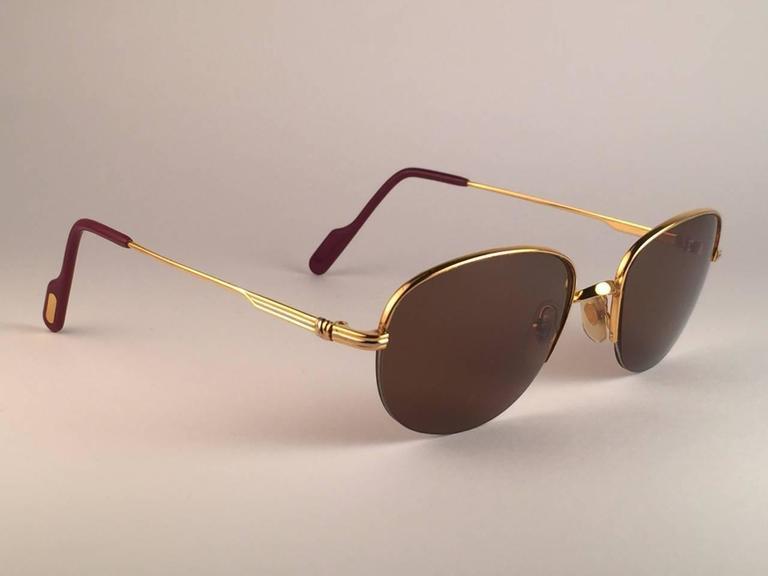 Cartier Montaigne Half Frame 53mm Sunglasses 18k Gold Sunglasses France 5
