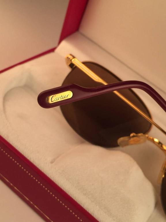 Cartier Montaigne Half Frame 53mm Sunglasses 18k Gold Sunglasses France For Sale 3