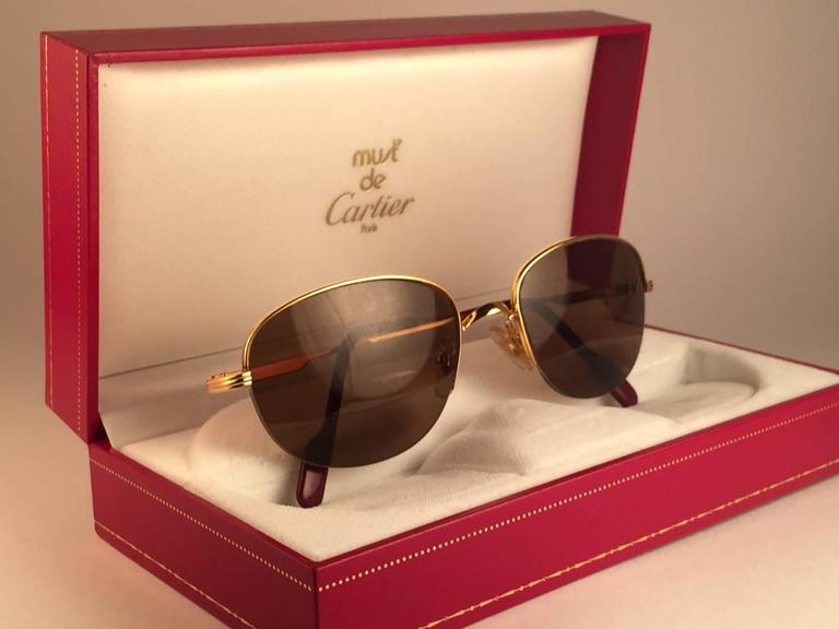 Brown Cartier Montaigne Half Frame 53mm Sunglasses 18k Gold Sunglasses France For Sale