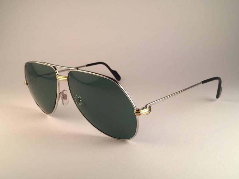 Women's or Men's New Cartier Aviator Platinum 62mm Large Vendome Grey Lenses Sunglasses France For Sale
