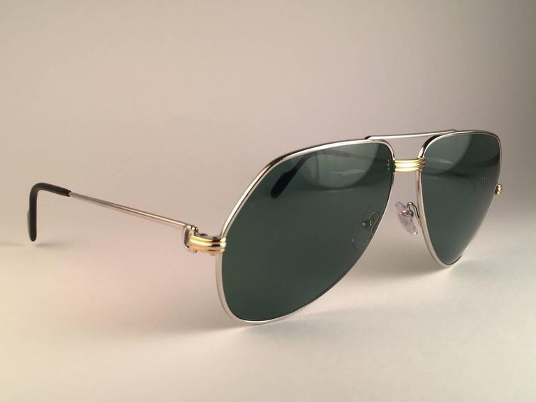 New Cartier Aviator Platinum 62mm Large Vendome Grey Lenses Sunglasses France For Sale 1