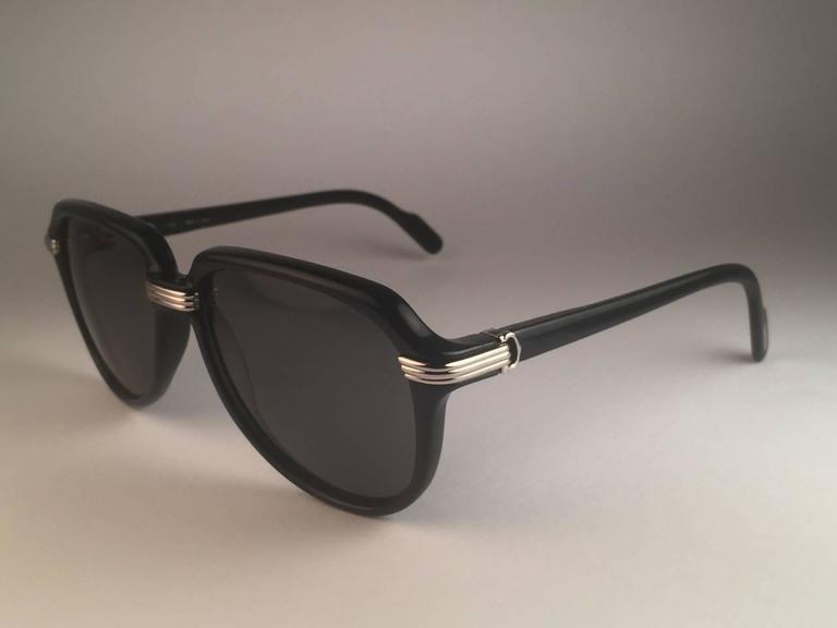 New Cartier Vitesse Green Jade Platinum 58MM Platinum Sunglasses France  For Sale 1