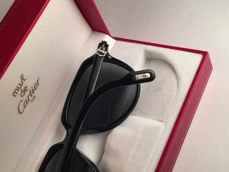 New Cartier Vitesse Green Jade Platinum 58MM Platinum Sunglasses France  For Sale 4