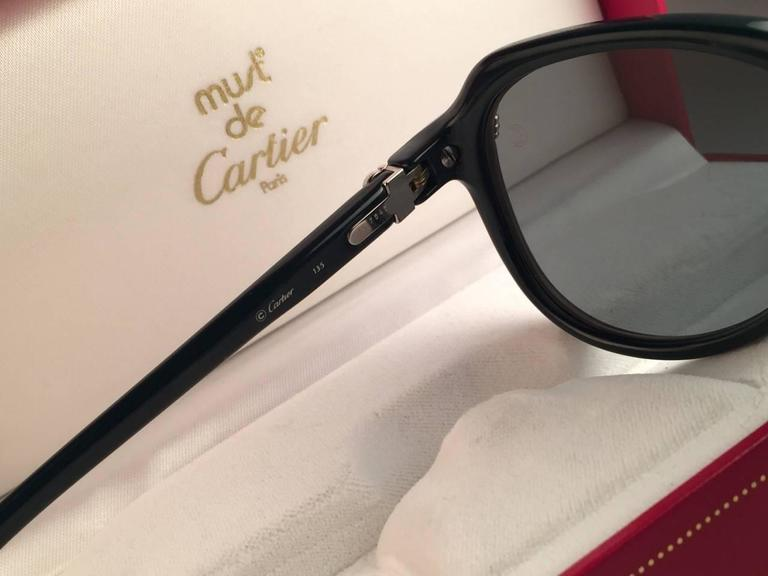 New Cartier Vitesse Green Jade Platinum 58MM Platinum Sunglasses France  For Sale 3