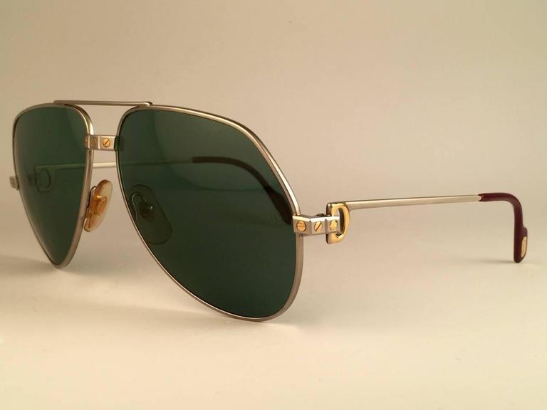 f7e0019732 Women s or Men s New Cartier Santos Screws Titanium 62Mm Grey Lens Heavy  Plated Sunglasses France For