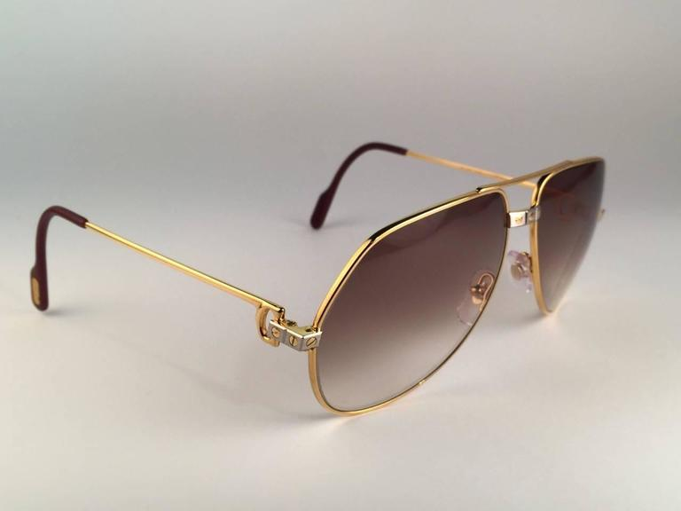 New Cartier Santos Screws 1983 62mm 18K Heavy Plated Sunglasses France 4