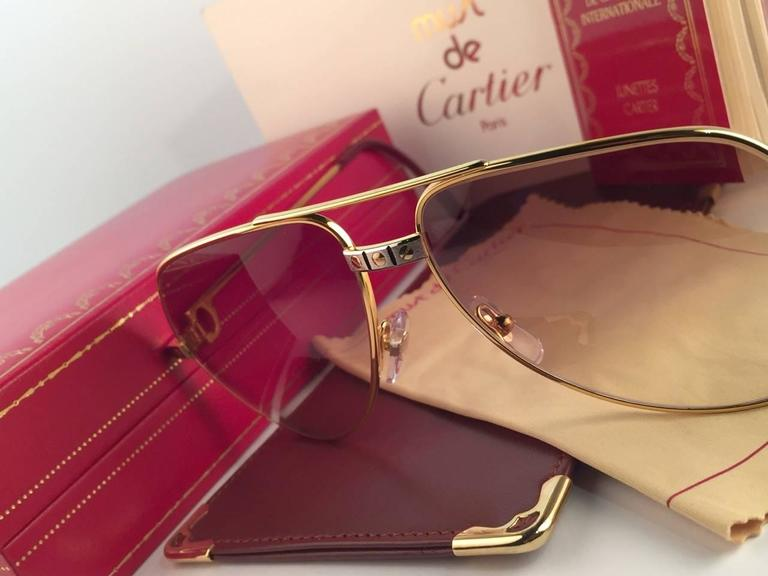 New Cartier Santos Screws 1983 62mm 18K Heavy Plated Sunglasses France 3