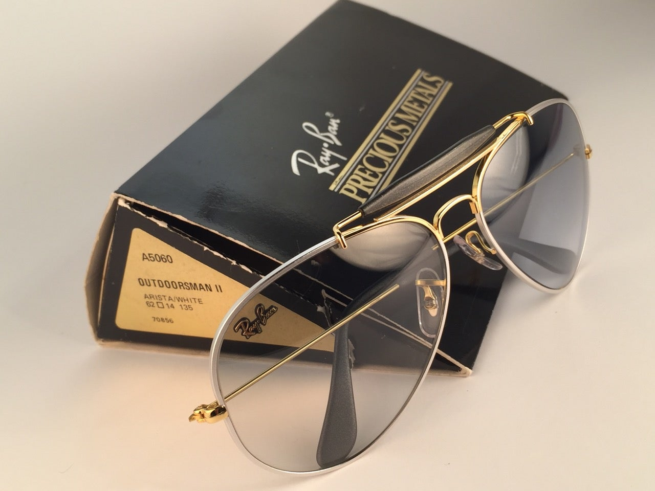 c2d0870ff39 New Ray Ban Precious Metals 24k Gold Platinum B L Outdoorsman 62  USA  Sunglasses For Sale at 1stdibs