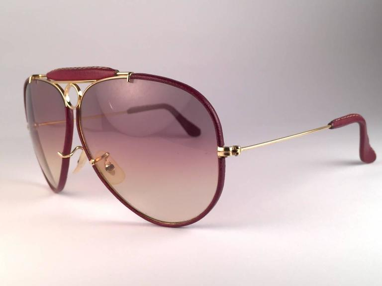 New Vintage Ray Ban Leathers Shooter Burgundy 62Mm B&L Sunglasses 4