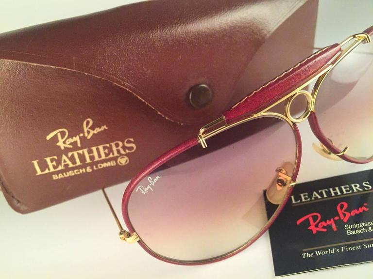 New Vintage Ray Ban Leathers Shooter Burgundy 62Mm B&L Sunglasses 5