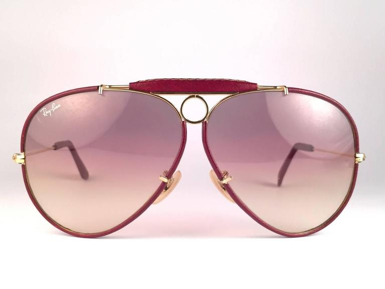 New Vintage Ray Ban Leathers Shooter Burgundy 62Mm B&L Sunglasses 2