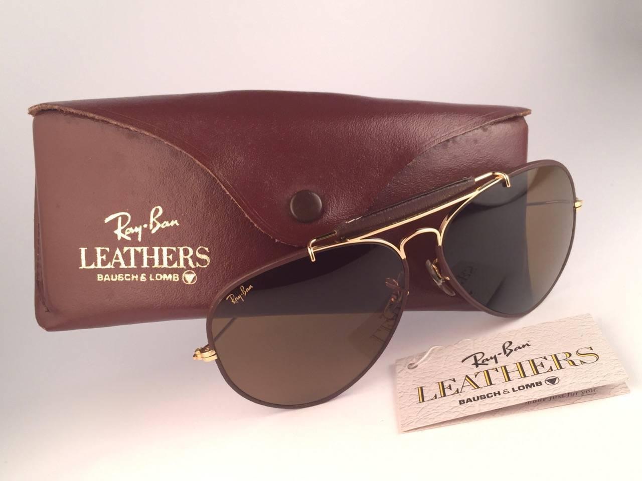 f4c53db935 New Ray Ban Leathers Brown Outdoorsman 62Mm B15 Lenses B L USA Sunglasses  at 1stdibs