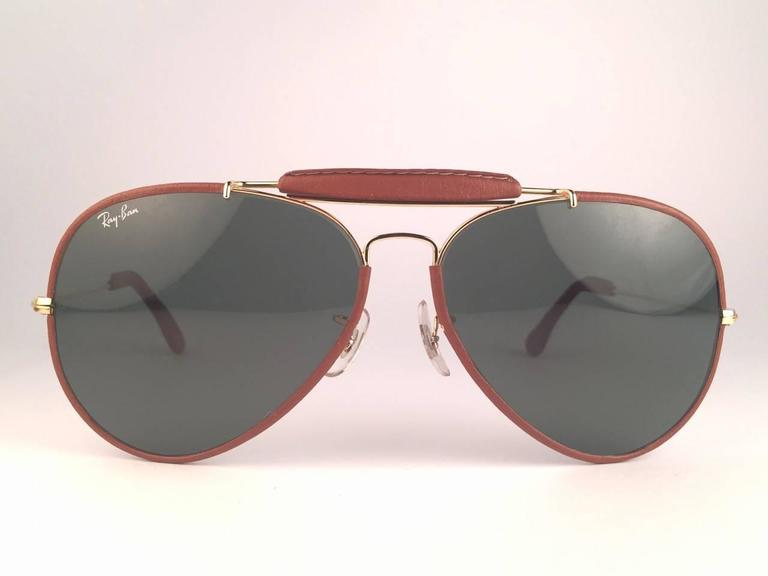 New Vintage Ray Ban Leathers Outdoorsman 62Mm G15 Sunglasses 3