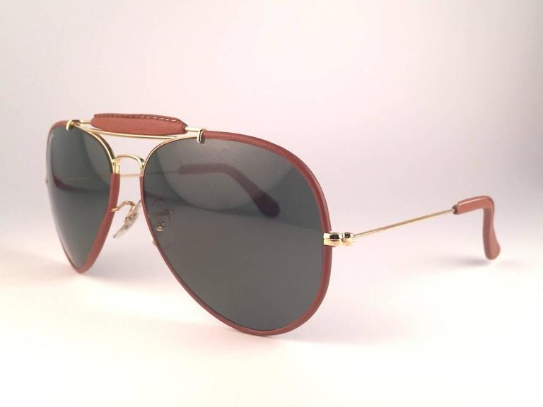 New Vintage Ray Ban Leathers Outdoorsman 62Mm G15 Sunglasses 6