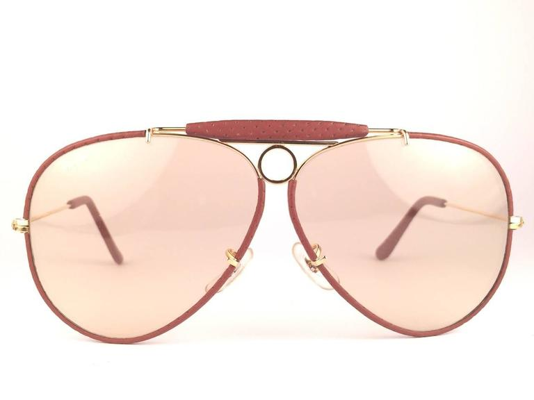 043ff6e0546 New Vintage Ray Ban Shooter 62 mm Ostrich leather and gold metal  combination sporting a pair