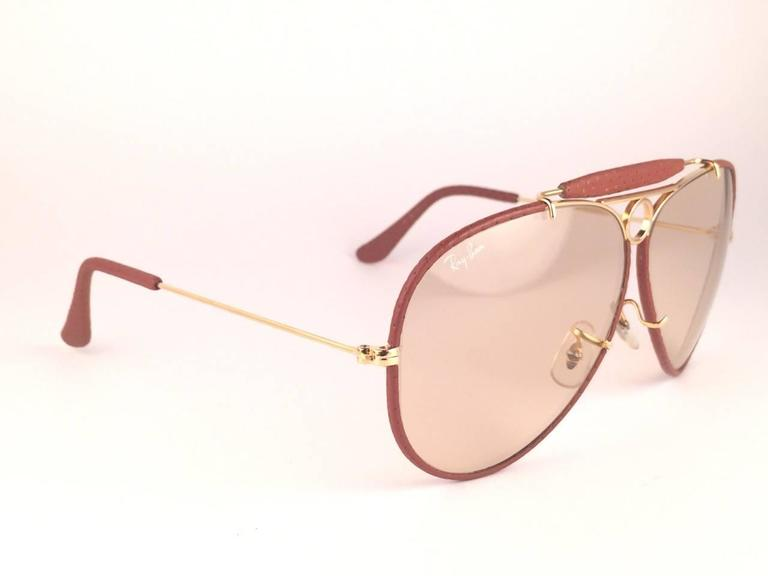 f118e3a43ac Women s or Men s New Vintage Ray Ban Ostrich Leather Shooter 62Mm B L Sunglasses  For Sale
