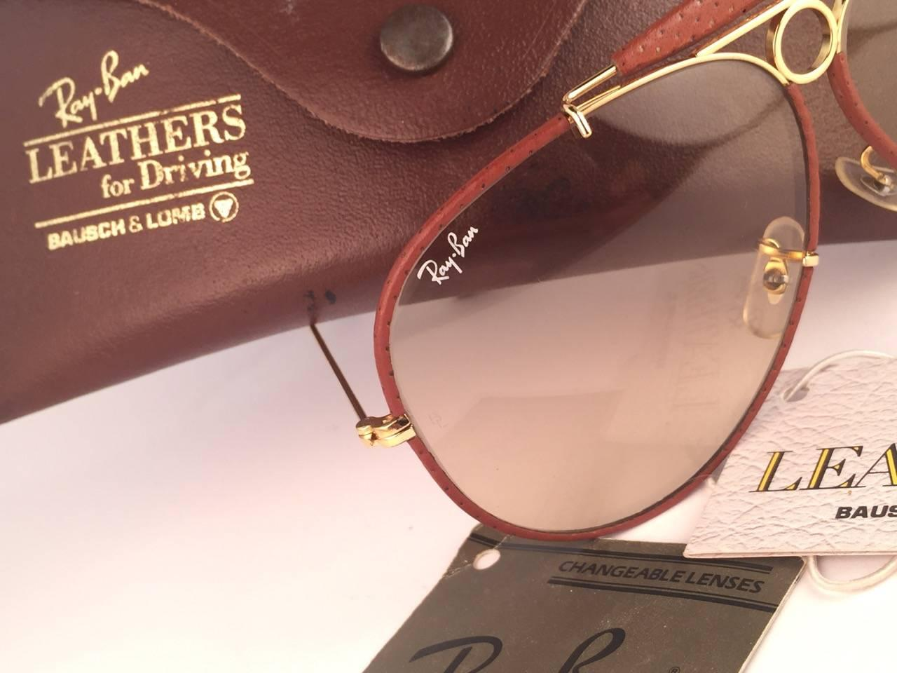 7a707aaa3b1 New Vintage Ray Ban Ostrich Leather Shooter 62Mm B L Sunglasses at 1stdibs