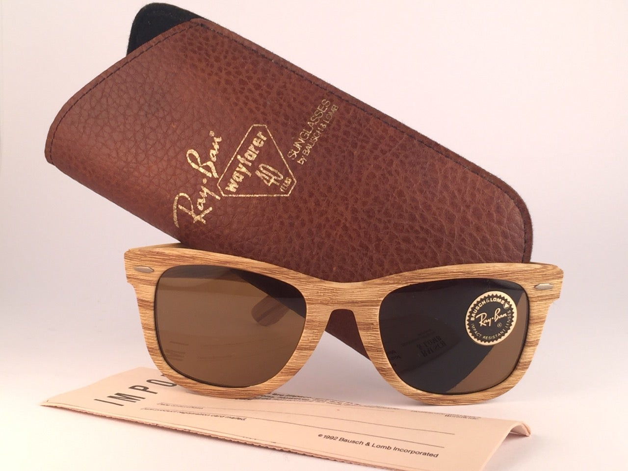 20bec239b4 New Ray Ban The Wayfarer Woodies Driftwood Edition Collectors USA 80  Sunglasses at 1stdibs