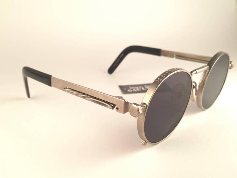 Women's or Men's New Jean Paul Gaultier 56 8171 Round Gun Metal Silver Matte Frame 1990's Japan   For Sale