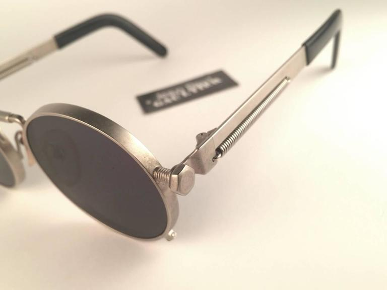 New Jean Paul Gaultier 56 8171 Round Gun Metal Silver Matte Frame 1990's Japan   For Sale 1