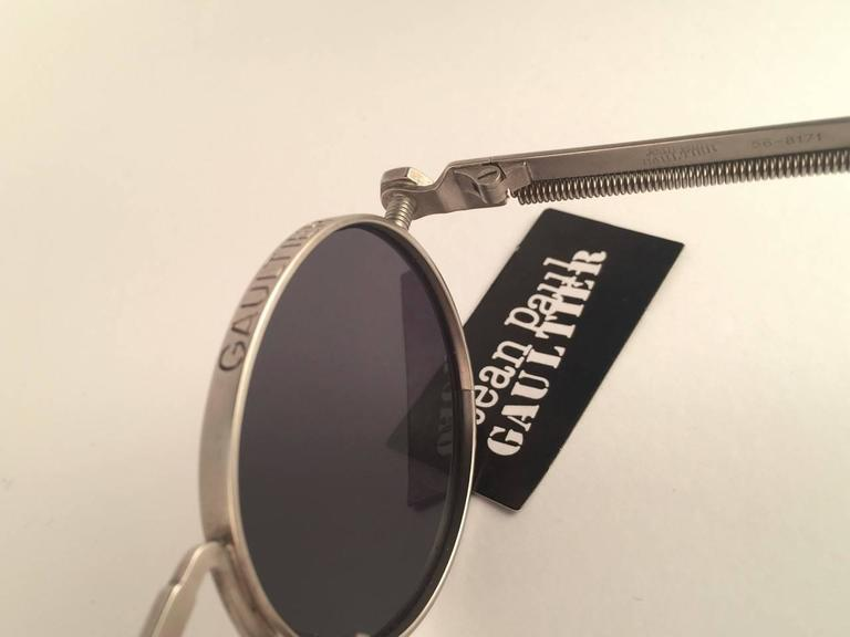 New Jean Paul Gaultier 56 8171 Round Gun Metal Silver Matte Frame 1990's Japan   For Sale 2