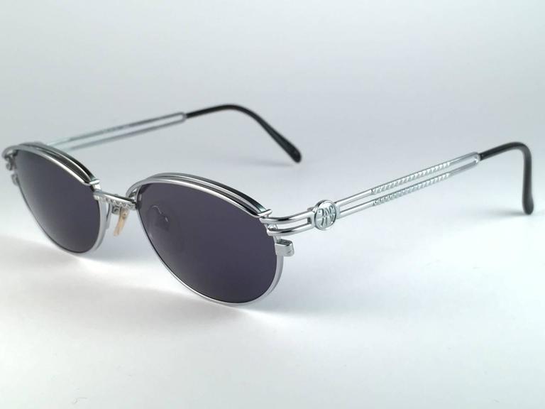 New Jean Paul Gaultier 58 6104 Silver Oval Grey Lenses JPG 1990's Japan  3