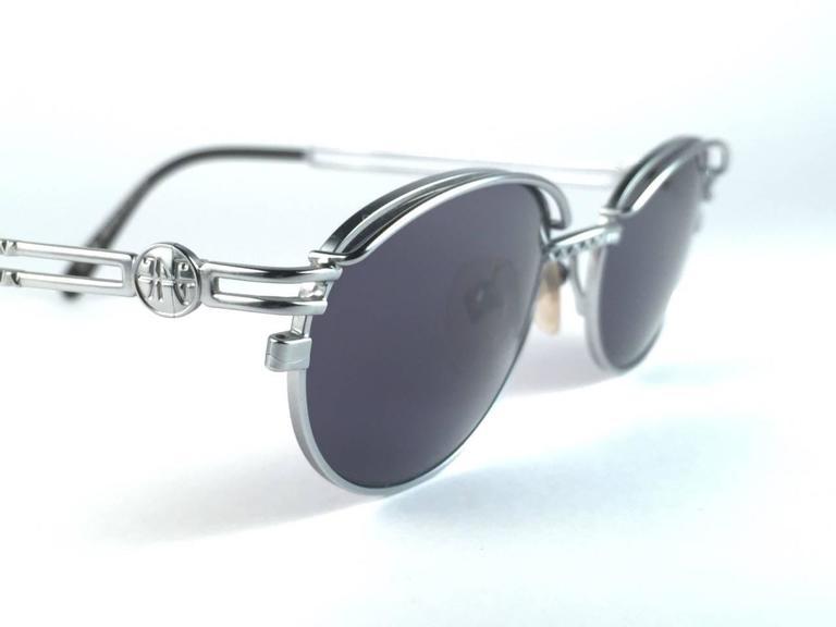 New Jean Paul Gaultier 58 6104 Silver Oval Grey Lenses JPG 1990's Japan  4