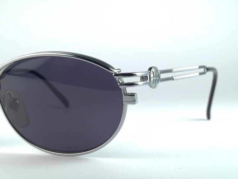 New Jean Paul Gaultier 58 6104 Silver Oval Grey Lenses JPG 1990's Japan  5