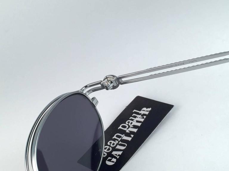 New Jean Paul Gaultier 58 6104 Silver Oval Grey Lenses JPG 1990's Japan  6