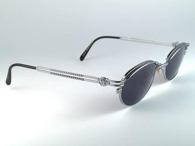 New Jean Paul Gaultier 58 6104 Silver Oval Grey Lenses JPG 1990's Japan  2