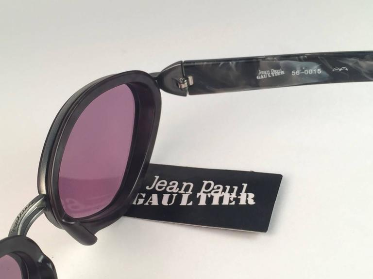 New Jean Paul Gaultier 56 0015 Marbled Grey Bullet Like Inserts 1990's Japan  For Sale 1