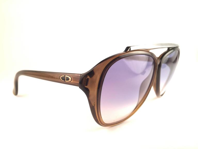 23e51fccd02 New Vintage Christian Dior 2059 20 sunglasses oversized translucent green  aviator with spotless blue gradient lenses