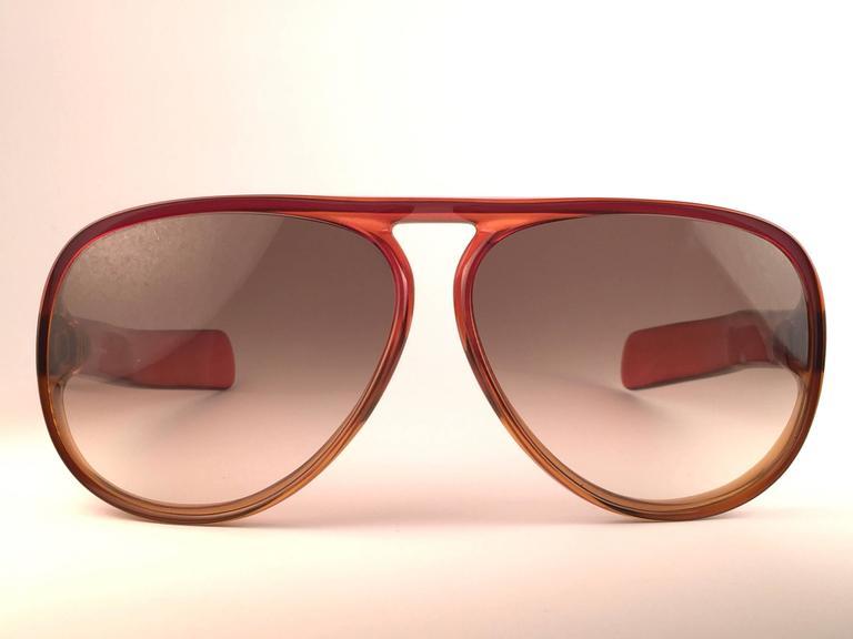 New Vintage Christian Dior Monsieur D60 J30 Dark Amber Aviator 1970 Sunglasses 2