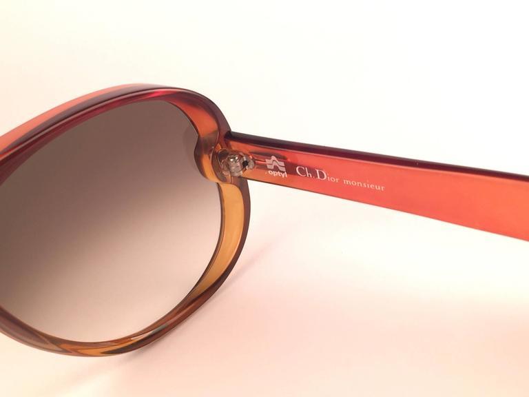 New Vintage Christian Dior Monsieur D60 J30 Dark Amber Aviator 1970 Sunglasses 4