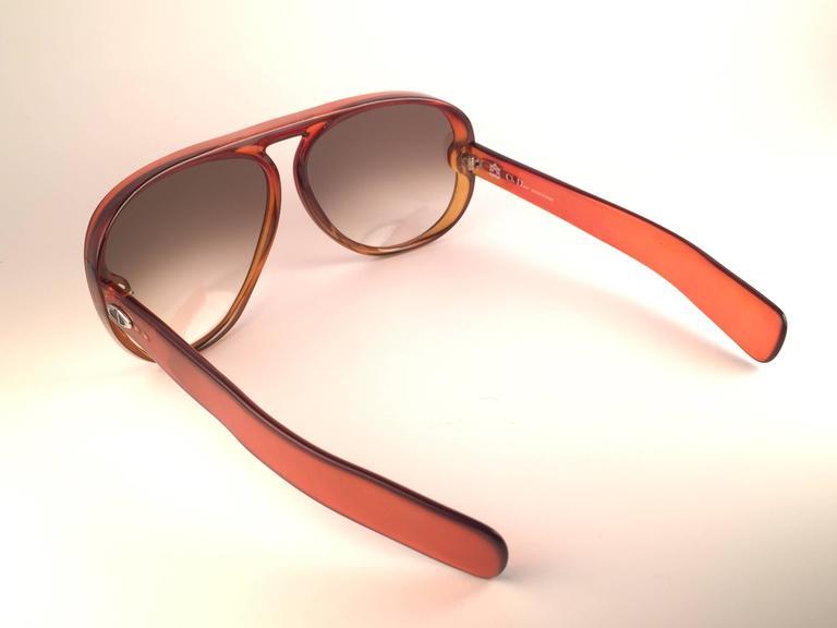 New Vintage Christian Dior Monsieur D60 J30 Dark Amber Aviator 1970 Sunglasses 6