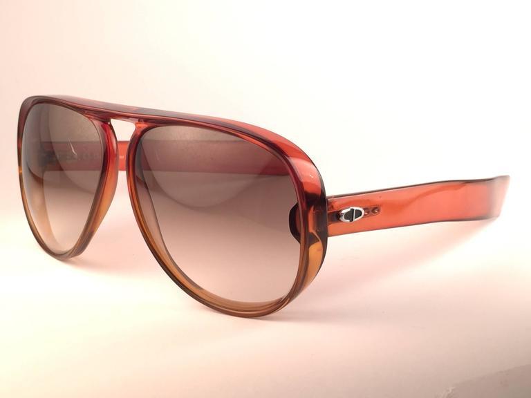 New Vintage Christian Dior Monsieur D60 J30 Dark Amber Aviator 1970 Sunglasses 3