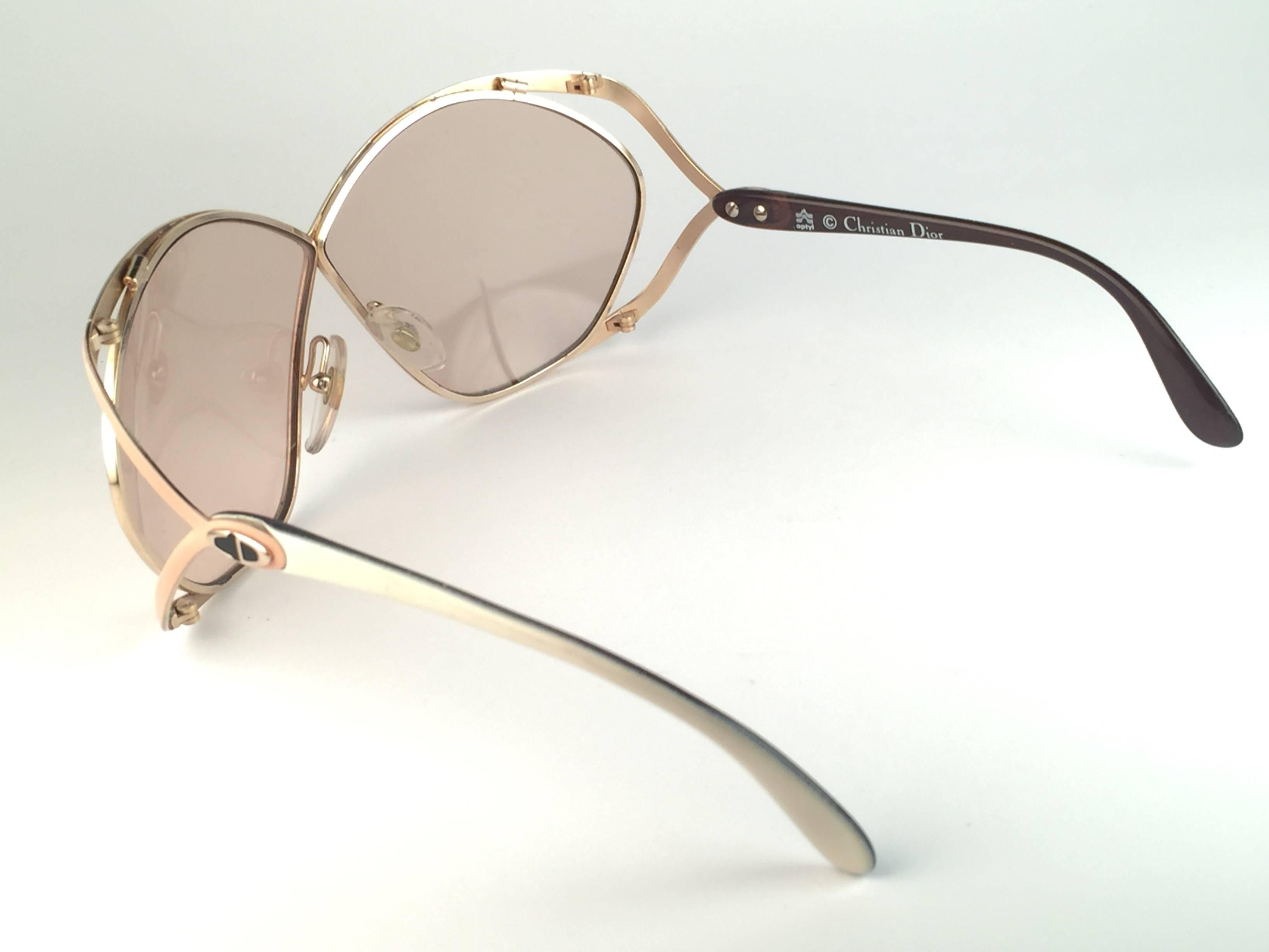 8740827e3f2 New Vintage Christian Dior 2056 70 Butterfly Gold White and Beige  Sunglasses For Sale at 1stdibs