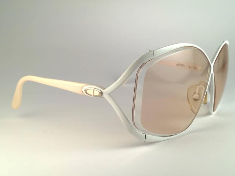 c6323005fb0 Brown New Vintage Christian Dior 2056 70 Butterfly White   Beige Sunglasses  For Sale