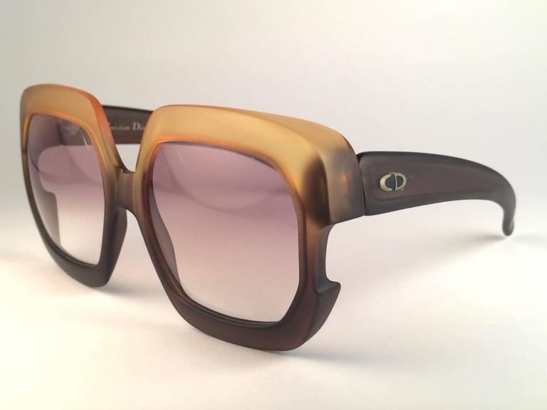 New Vintage Christian Dior 2002 Ombre Amber Brown Optyl Sunglasses Germany 3